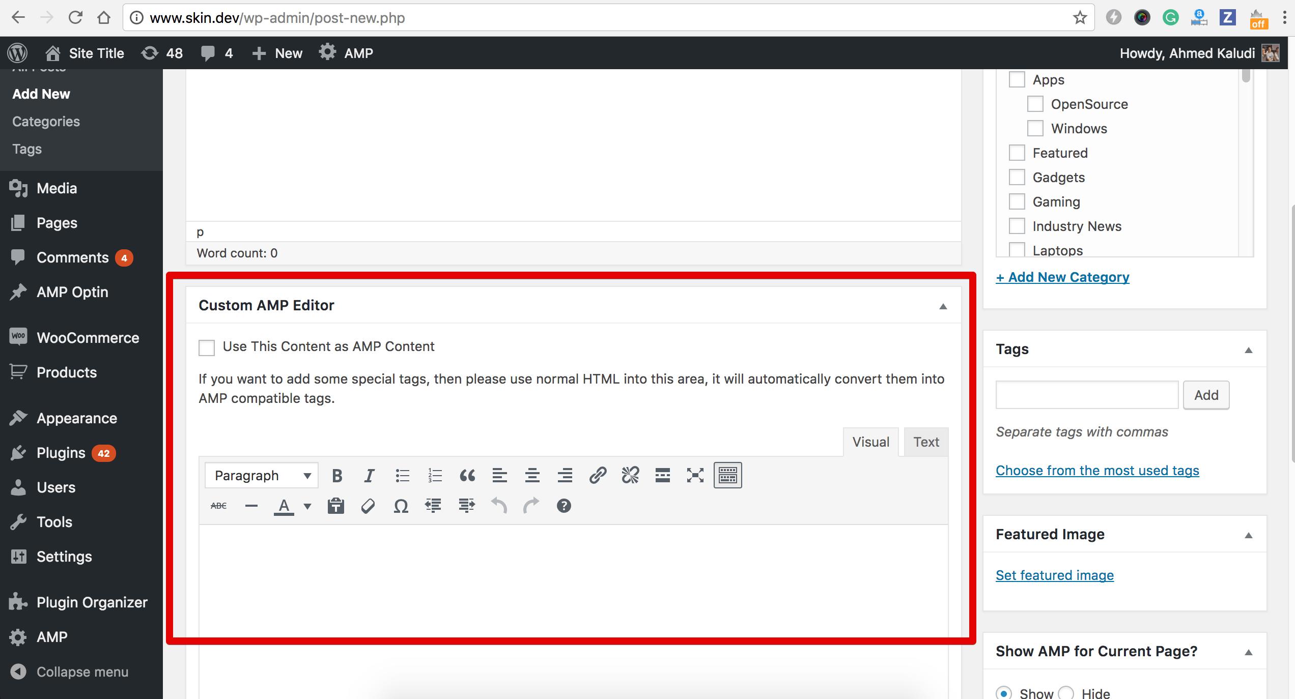 Custom AMP editor