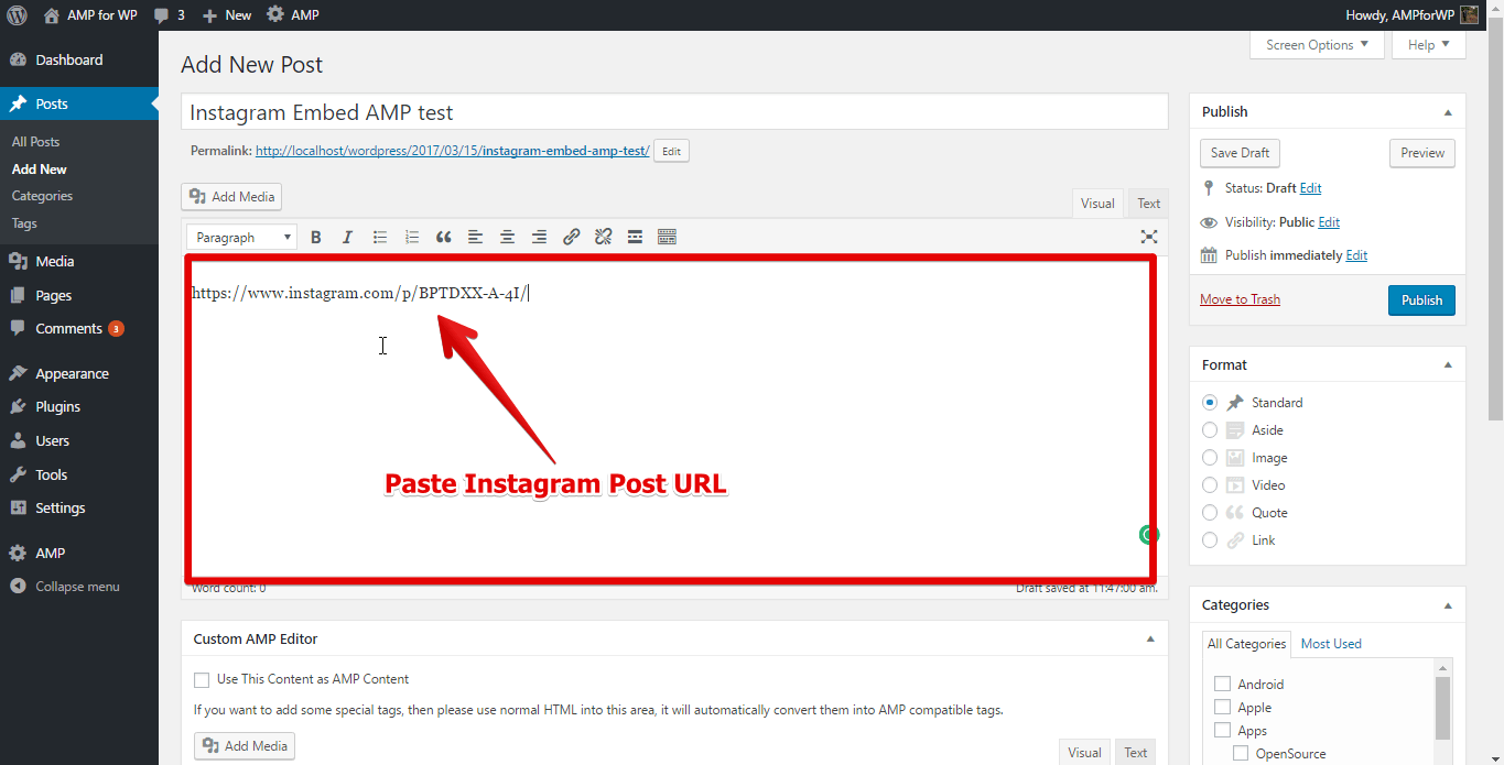 paste instagram post URL