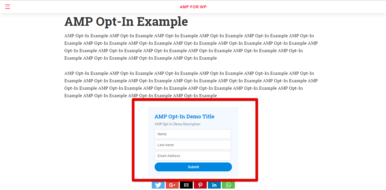 AMP Opt-In Example