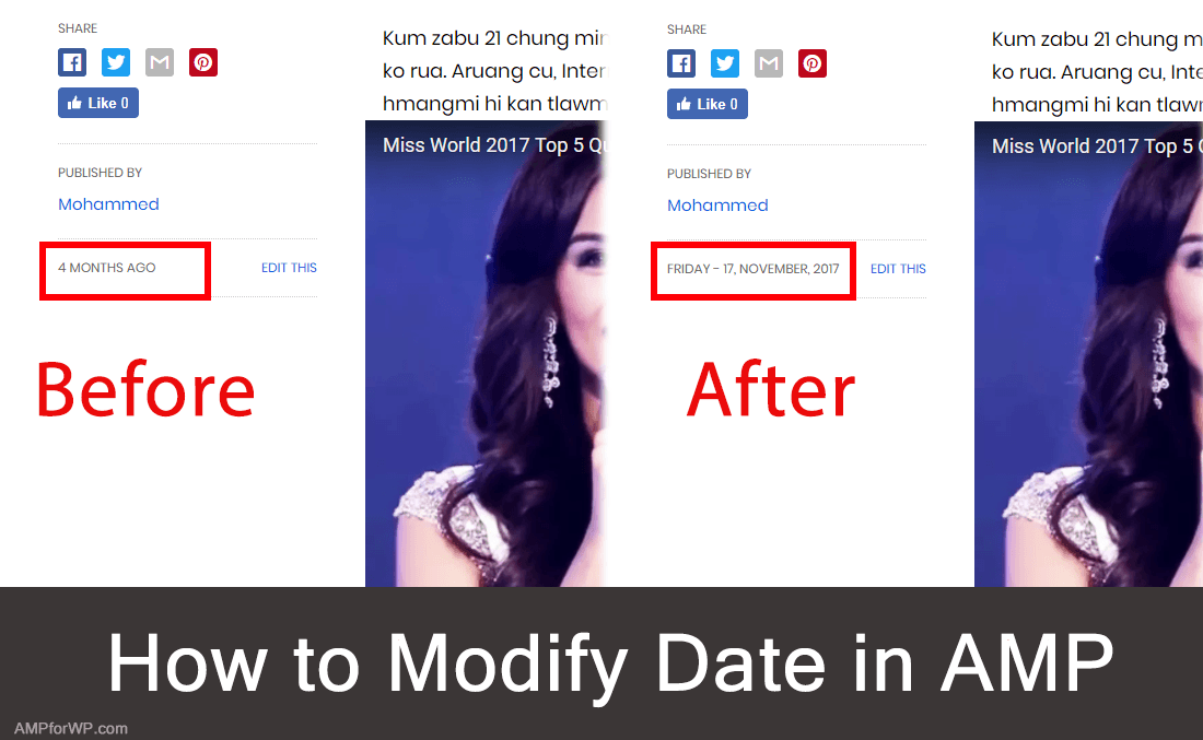 How to change date in amp wordpress