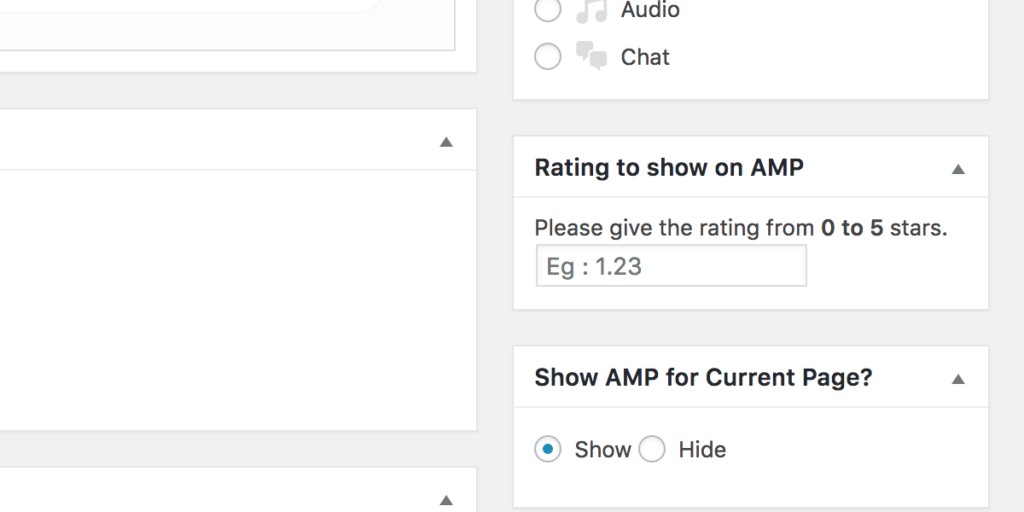 Rating to show on AMP