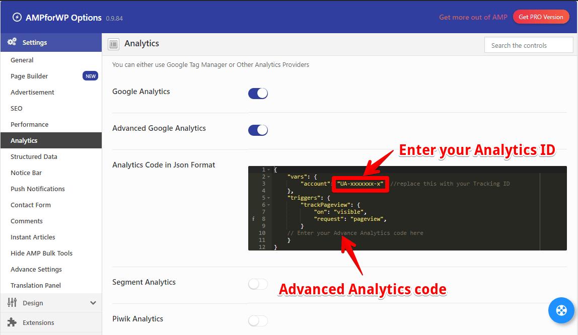 Advanced Analytics code option