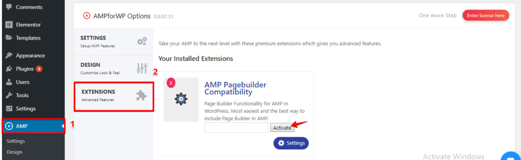 How to enable AMP Page Builder Compatibility license key? - AMP