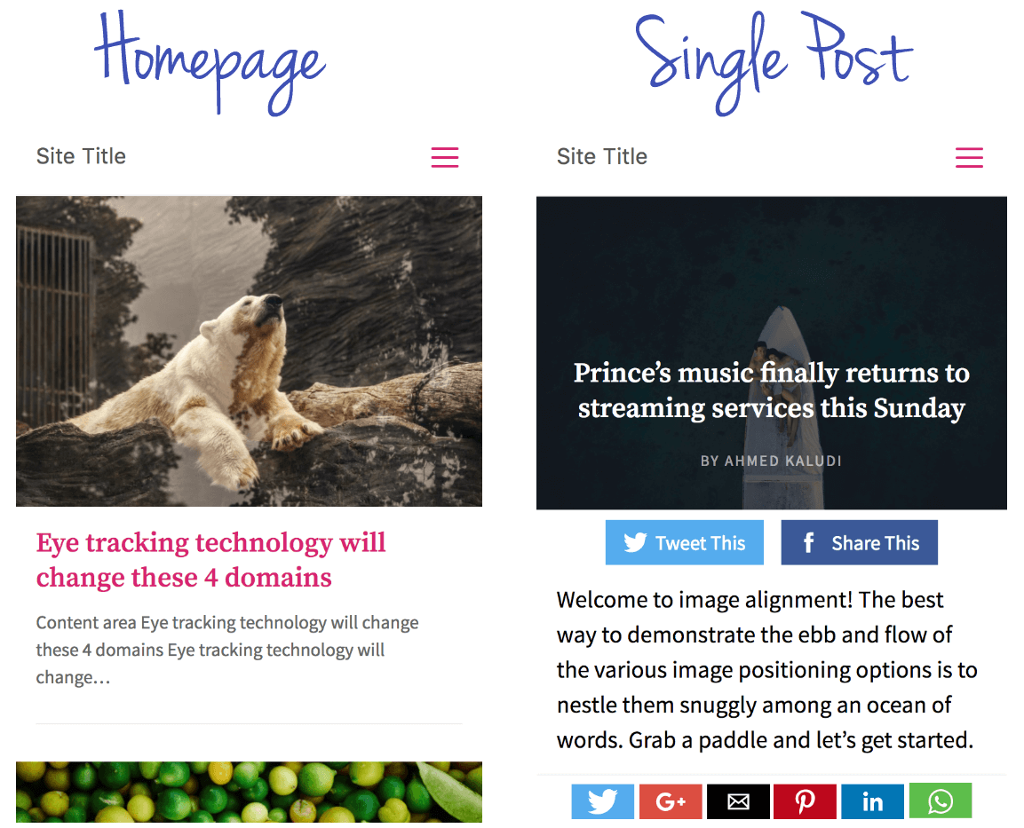 Home Page & Single Page