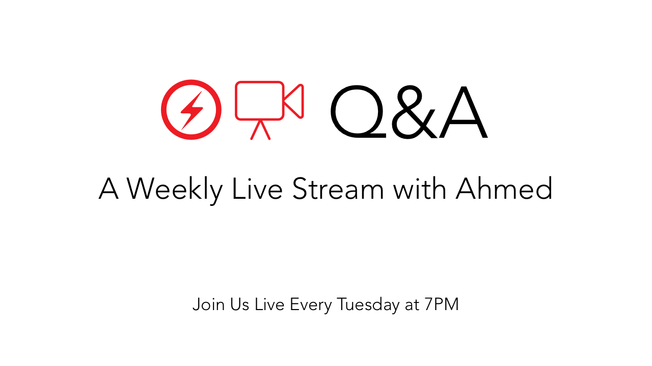 Weekly Q & A Live stream with Ahmed on AMP